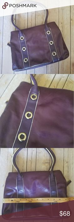 AURIELLE purple leather bag Purple leather with contrast white edging. Decorative grommet detail on front. Center zip compartment with snap compartments on each side. Great condition. Aurielle Bags