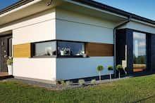 Dom w bodziszkach Bungalow House Design, Modern House Design, Dream House Plans, Shed, Farmhouse, Exterior, Outdoor Structures, How To Plan, Outdoor Decor