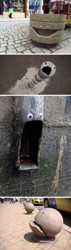 artist shows that putting googly eyes on inanimate objects never gets old is part of Funny art - Artist Shows That Putting Googly Eyes on Inanimate Objects Never Gets Old Streetart DIY Funny Art, The Funny, Funny Memes, Hilarious, Funny Troll, Jokes, Street Art, Oeuvre D'art, Urban Art
