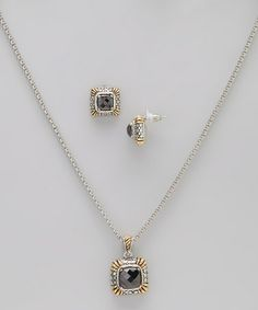 Take a look at this Gold & Black Simulated Diamond Pendant Necklace & Earrings by Regal Jewelry on #zulily today!