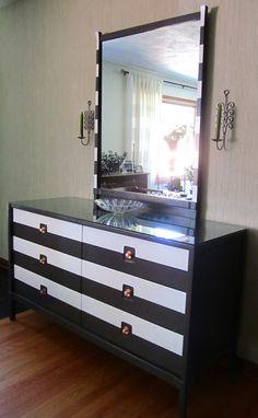 Mid Century Modern Grey and White Striped Dresser by FallenWalnut,