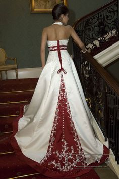 white and burgundy wedding dress Christmas Wedding Dresses, Wedding Dresses London, Camo Wedding Dresses, Wedding Dresses Plus Size, Designer Wedding Dresses, Wedding Attire, Wedding Gowns, Maroon Wedding, Burgundy Wedding