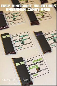 Easy Homemade Minecraft Valentine- Enderman Candy Bar with Free Printable @keepingitsimple