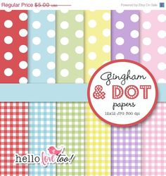 50% OFF INSTANT DOWNLOAD gingham and dot digital by hellolovetoo
