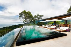 Built on a mountain ridge in Costa Rica's Osa Peninsula rainforest, the saltwater infinity pool at Kurà is 62 feet long.  Source: Kura