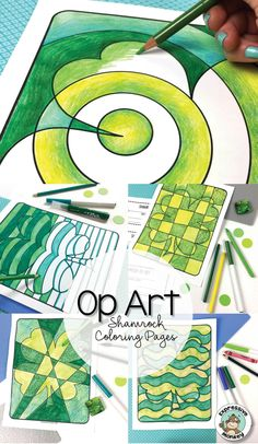 This set of Op Art Shamrock Coloring Pages will rock your St. Patrick's Day craft! Give students a chance to experiment with different ways to make green, then use a variety of greens to color in the Op Art Shamrocks.