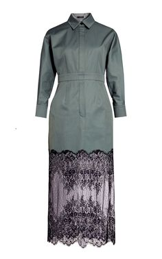 2009044b0e Long Sleeve Cotton Shirt Dress With Lace Skirt