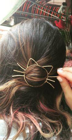 Cat Bun Pin Hair Clip Brass Barette Handmade Cat Whiskers Bun Slide