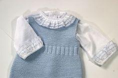 Diy tejer ropa de bebe pelele patrones gratis Knitting For Kids, Knitting For Beginners, Baby Knitting Patterns, Baby Patterns, Crochet Baby, Knit Crochet, Knit Baby Dress, Garter Stitch, Baby Sweaters