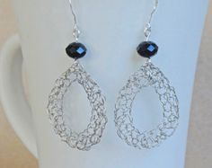 Wire crochet earrings Silver drop earrings. Pearl
