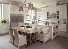 65 Extraordinary traditional style kitchen designs. Love the island/ sofa table combo!
