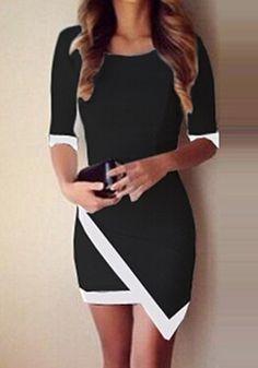 Black Color Block Irregular Slim Dress - Mini Dresses - Dresses