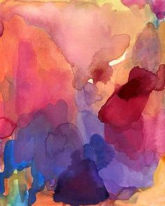 To Love, Art Print of Original Watercolor Painting, 16 x 20 large format abstract art emotion red pink hot pink blue violet salmon. $45.00, via Etsy. --love, love, love.