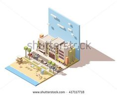 Vector Isometric infographic element or icon representing sea beach with life guard tower near the small town street with old buildings