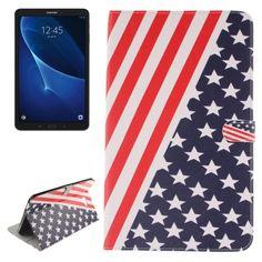 [$5.56] For Samsung Galaxy Tab A 10.1 / T580 US Flag Pattern Horizontal Flip…