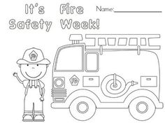 Free Fire Safety Week Coloring Page in Fire Truck Coloring Pages for Preschoolers Fire Safety Crafts, Fire Safety Week, Daycare Crafts, Classroom Crafts, Classroom Ideas, Fire Prevention Week, Community Helpers Preschool, Preschool Themes, Preschool Math