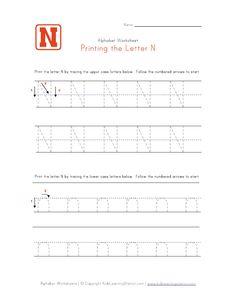 letter n worksheets | Traceable Letter N - Preschool Alphabet Page