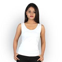 Letizia Women's Cotton Round Neck Tank Top (White) - Shopping With US Women Accessories, Clothing Accessories, White Shop, Basic Tank Top, Tops Online, Clothes For Women, Tank Tops, Stylish, Womens Fashion