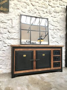 Exemple Fabrication meuble metal et bois Industrial Kitchen Design, Industrial Bathroom, Rustic Industrial, Industrial Furniture, Rustic Furniture, Kitchen Benches, Black Furniture, Retro Home Decor, Bathroom Furniture