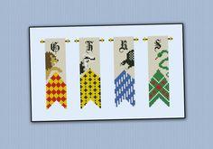 Harry Potter - Houses banners cross stitch pattern