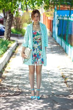 Aquamarine Zara Dress + Sky blue River Island Jacket