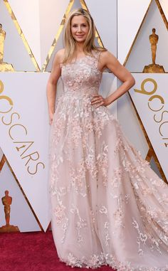 Miro Sorvino from Standout Style Moments From Oscars 2018  An embellished, blush-toned gown seemed to be the big trend of the night!
