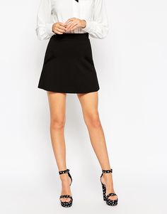 Image 4 of ASOS A-Line Skirt In Ponte With Pockets