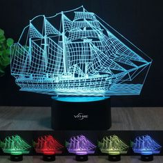 """Sailboat 3D Lamp, Stunning Visual Three-Dimensional Light Effect [USB Powered,Touch Switch,7 Colors Change] Creative Design Night Light"" -"