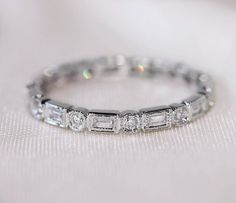 Unique Baguette/Round14K White Gold Wedding Ring/Band Full Eternity Band Solid  SI/H Diamond Engagement Ring/ Promise Ring/ Anniversary Ring on Etsy, $595.00
