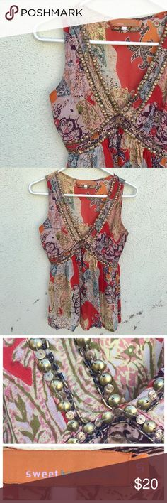 """MISS ME Boho TOP blouse Tank gypsy Sz S Beautiful gypsy BOHEMIAN top by Sweet by miss me. Sz S. flowy fabric, pretty palette, invisible side zip. V-neck, and coin adornments around neckline excellent condition! Up to 17"""" across bust, 26"""" long. Viscose. N25 Miss Me Tops Blouses"""