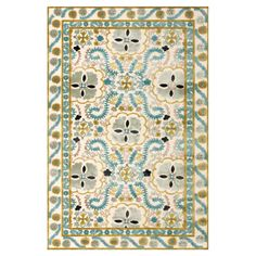 Stylishly anchor your living room or master suite with this lovely art silk rug, featuring a medallion motif in aqua and cream.    Prod...