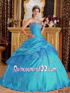 Classy Teal Sweetheart Floor-length Appliqued Quinceanera Dress