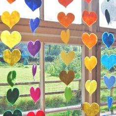 Felt Heart Garland - Hanging Rainbow hearts is a rainbow of 20 hand cut felt hearts all stiched together with sparkling gold thread Kids Crafts, Diy And Crafts, Craft Projects, Valentine Day Crafts, Holiday Crafts, Valentines, Valentine Heart, Rainbow Room, Rainbow Heart