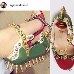 Songbird's Gucci leather studded sandal Studded Sandals, Gucci, Platform, Heels, Leather, Style, Fashion, Heel, Swag