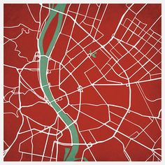 Budapest, Hungary Print by City Prints Map Art
