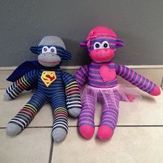 Sock Monkeys, these are themed monkeys. Superman and ballerina they are R120 each.