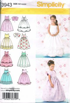 UNCUT Size 3-6 Girl's Special Occasion Dress With Bolero Jacket - Flower Girl Dress - Formal Dress Simplicity Pattern 3943 Chest 22 23 24 25