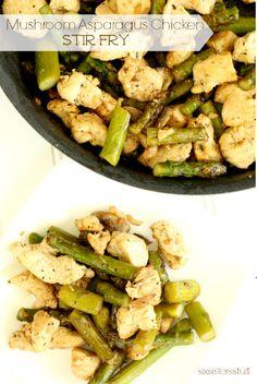 Mushroom Asparagus Chicken Stir Fry | Six Sisters' Stuff