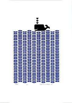 Whale limited edition silkscreen print - Delft blue and black by mengseldesign on etsy.com