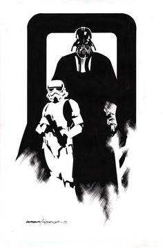 Star Wars - Darth Vader and Storm Trooper by Stuart Immonen, inks by Wade Von Grawbadger *