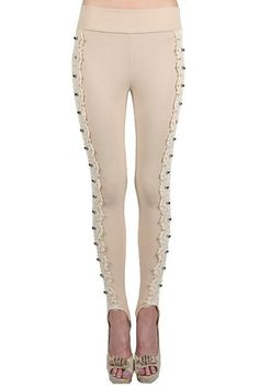 Lace sided leggings. Finely crafted with attention to detail. Rhinestone individually stitched. Small 2-4, medium 6-8, large 10-12.   Lace Sided Leggings by Amy's Allie . Clothing - Bottoms - Pants & Leggings - Leggings Ohio