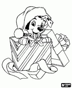 dalmatian-puppy-in-a-gift coloring page