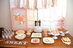 georgia peach baby shower. this is such a cute shower! i love the chalkboard photos w/ all the guests