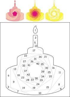 Birthday cake iris folding pattern: