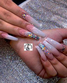Installation of acrylic or gel nails - My Nails White Acrylic Nails, Best Acrylic Nails, Clear Acrylic, Pastel Nails, Yellow Nails, Nail Swag, Rhinestone Nails, Bling Nails, Glitter Nails