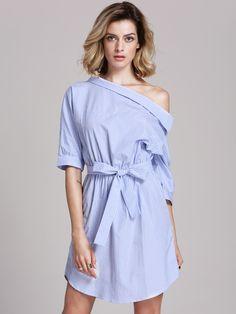 Blue Periwinkle Shouldered Half Sleeve Off The Shoulder Striped Dress