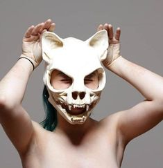 This is a urethane rubber cat skull mask. Its soft and flexible yet rigid enough to give the illusion of a skull. The jaw moves with the wearers jaw. It fits up to a 23 head, but is ideal on a head. Cat Skull, Skull Mask, Fox Mask, Cosplay Costumes, Halloween Costumes, Halloween Cat, Character Inspiration, Character Design, Susanoo Naruto