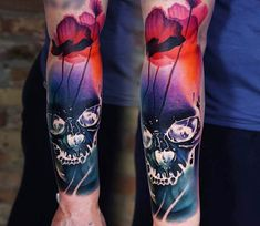 Skull with wild Poppy tattoo by A.d. Pancho