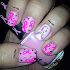 Breast Cancer Aawreness Nail Art Photo by vixen_nails check out www.ThePolishObsessed.com for more nail art ideas.