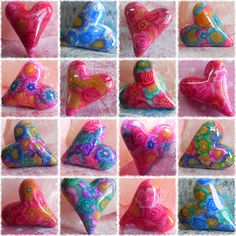 polymer clay hearts